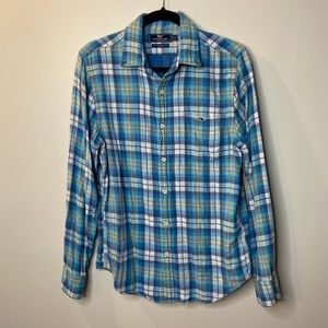 Vineyard Vines Men Small Blue Plaid Shirt Slim Fit